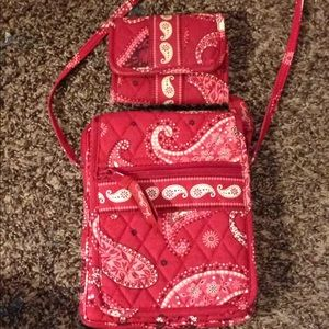 Vera Bradley crossbody and matching wallet set
